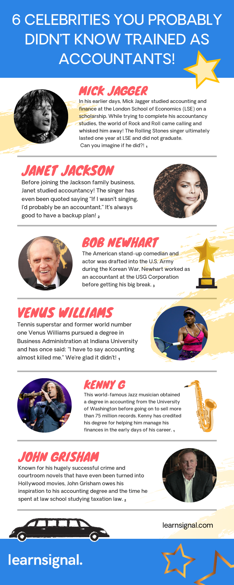 6 Celebrities You Probably Didn't Know Trained As Accountants Infographic